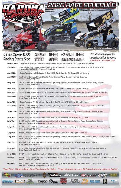 2020 Barona Speedway Race Schedule