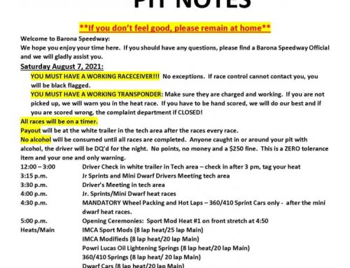 8-7-2021 Pit Notes